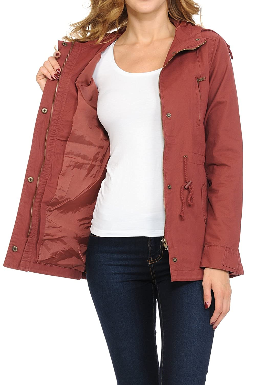 Aulin/é Collection Womens Versatile Military Safari Utility Anorak Street Fashion Hoodie Jacket