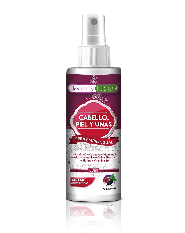 EVIOX - Potente Biotina + Colágeno + Ácido Hialurónico + Colina Bitartrato + Vitaminas E, C y B9 - Cabello fortalecido con Acción Anticaída - Piel nutrida ...