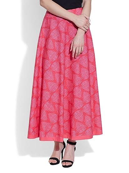 dc49751156 URBAN KOLOURS Women's Cotton Printed Skirt Size:- 36 / L (Pink ...