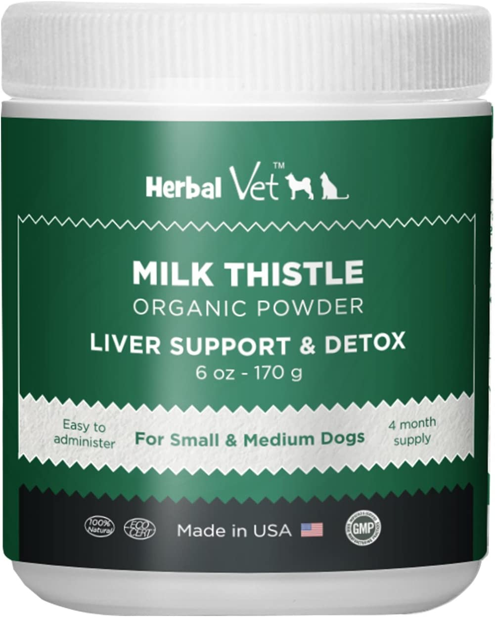 Certified Organic Milk Thistle Powder for Cats and Dogs – Easy to Mix with Wet or Dry Food- Promotes Healthy Liver Function and Detox for Pets