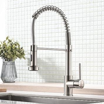Küchenarmatur Ausziehbar Wasserhahn mit 3 Strahlarten Spiralfeder Mischbatterie