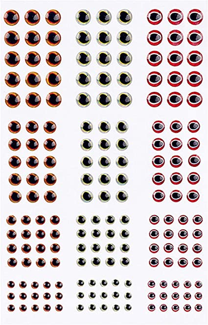 183pieces 3D Epoxy Fishing Lure Eyes Holographic Eyes Crafts 3mm,4mm,5mm,6mm