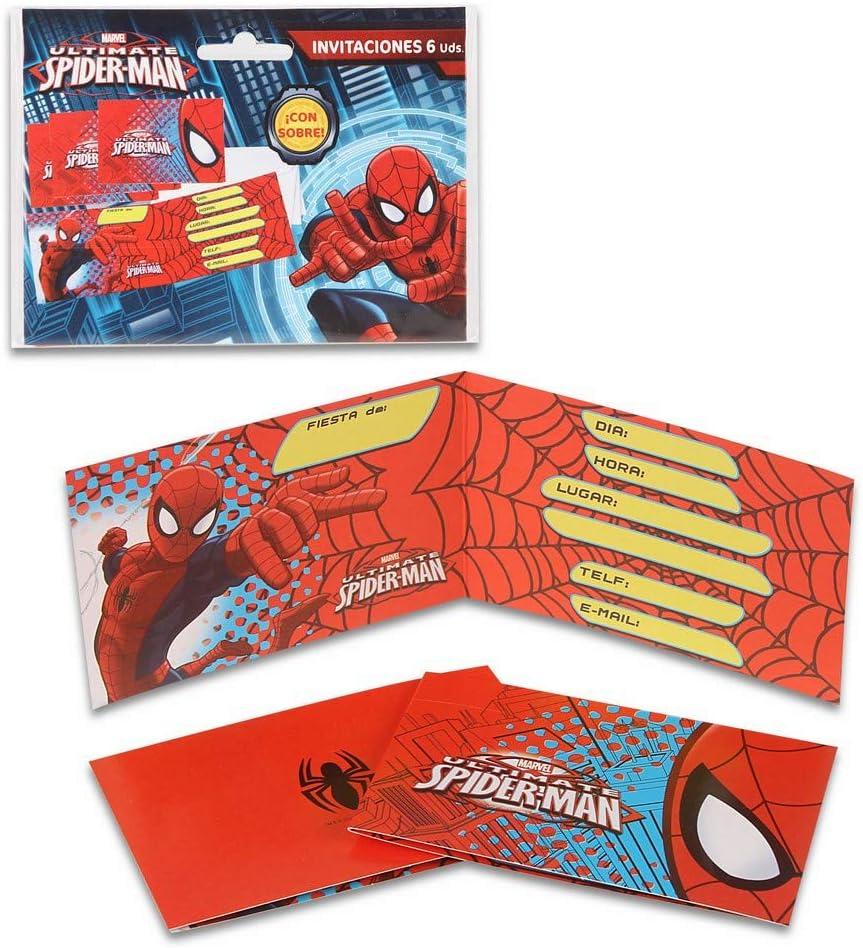 ALMACENESADAN 68336 Pack 6 Invitaciones Spiderman, sin sobre ...