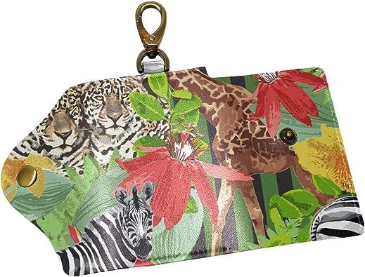 KEAKIA Leopards Leather Key Case Wallets Tri-fold Key Holder Keychains with 6 Hooks 2 Slot Snap Closure for Men Women