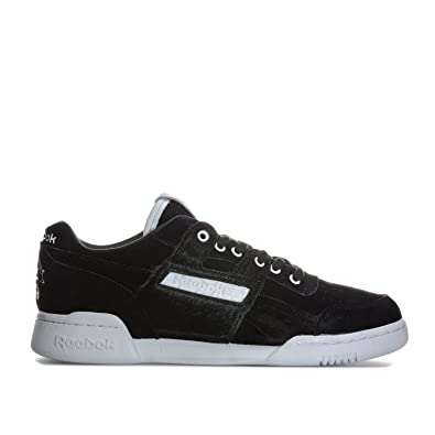 4444b241b2632 Reebok Mens Classics Mens Workout Lo Plus x Foot Patrol Trainers in Black- White - UK 7.5  Amazon.co.uk  Shoes   Bags