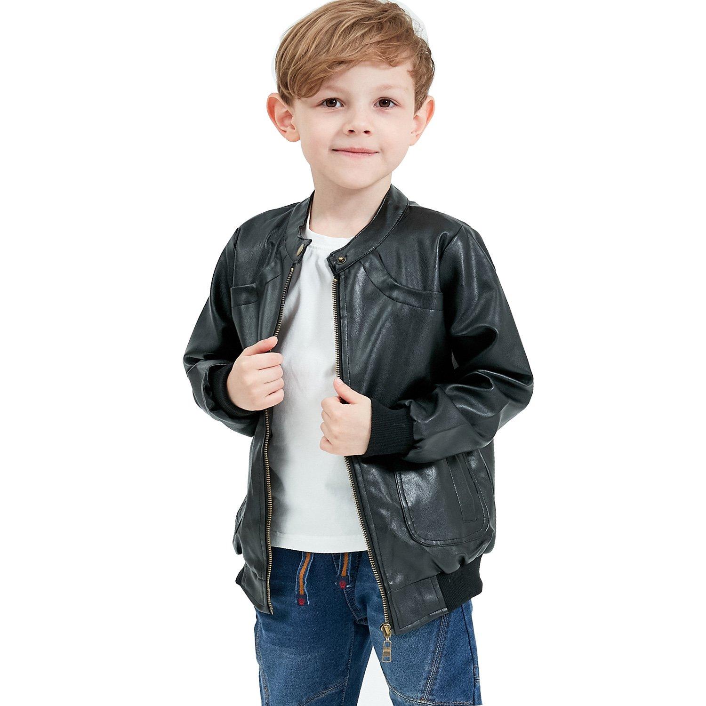 Grandwish Jungen Kunstlederjacke mit trendy Stehkragenmantel Jacken für Kinder Gr.110-Gr.146