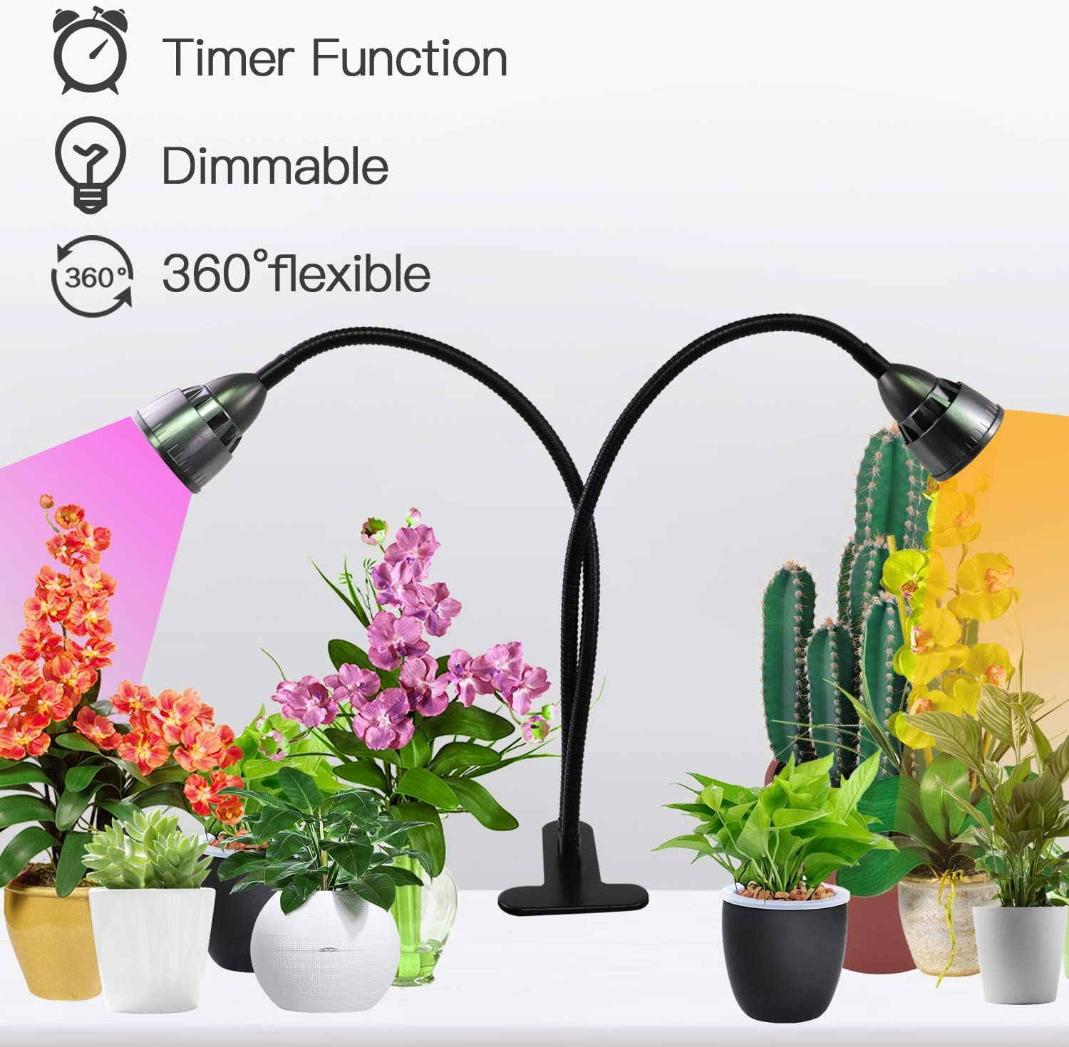 LED Grow Lights for Indoor Plants,360° Gooseneck Dual Head Clip-on Plant Lights for Seedlings Succulents Micro-Greens,Timer Function (3 Modes & 10-Level Brightness)
