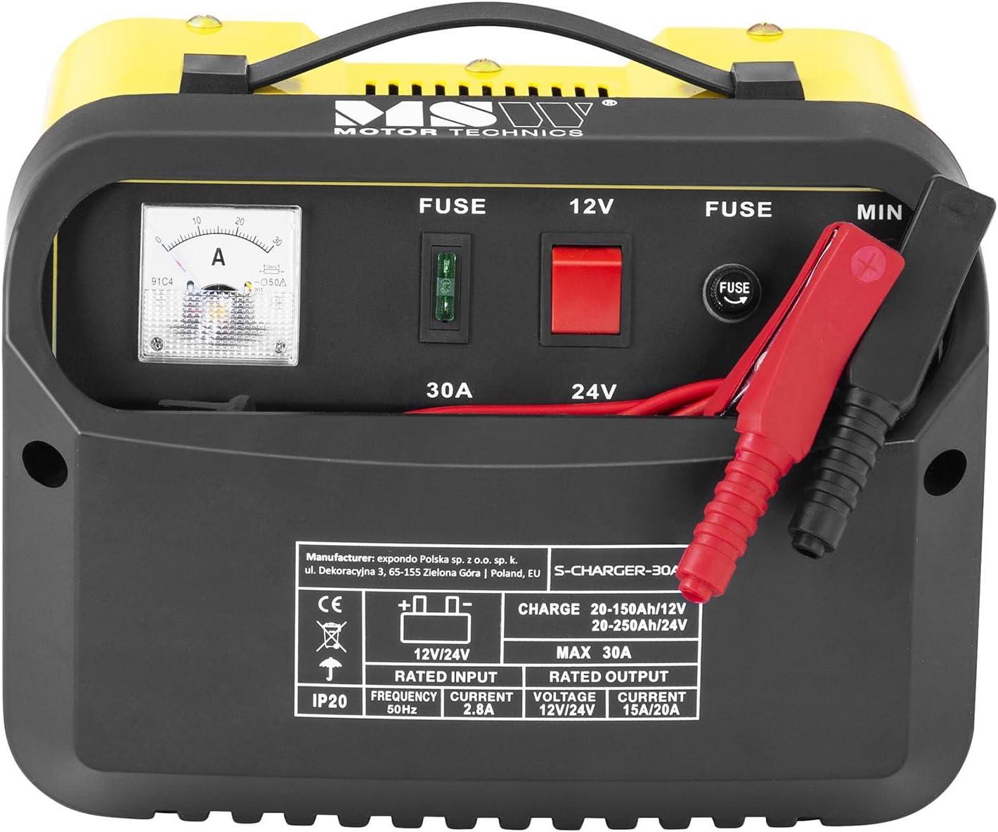 MSW Chargeur de Batterie Auto Aide au D/émarrage pour la Voiture S-CHARGER-20A.2 12//24 Volts, 8//12 amp/ères, accumulateur au Plomb