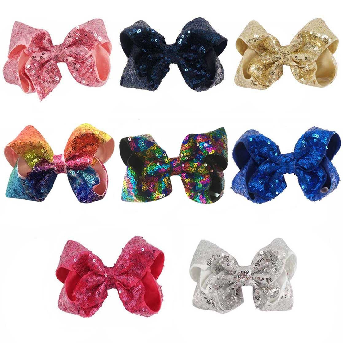 CN Bow For Girls 5Inch Boutique Sequin Hair Bow With Alligator Clips For Baby Toddler Pack Of 8