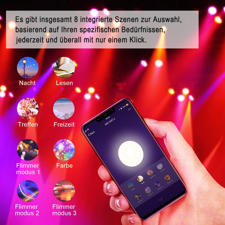 2700K-6500K 600LM Kontrollierte via iOS//Android mit  Alexa und Google Home Reteck 2er Pack E27 Farbwechsel RGB Wlan LED Leuchtmittel Dimmbar 7W 60W /äquivalent WiFi Smart LED Lampe