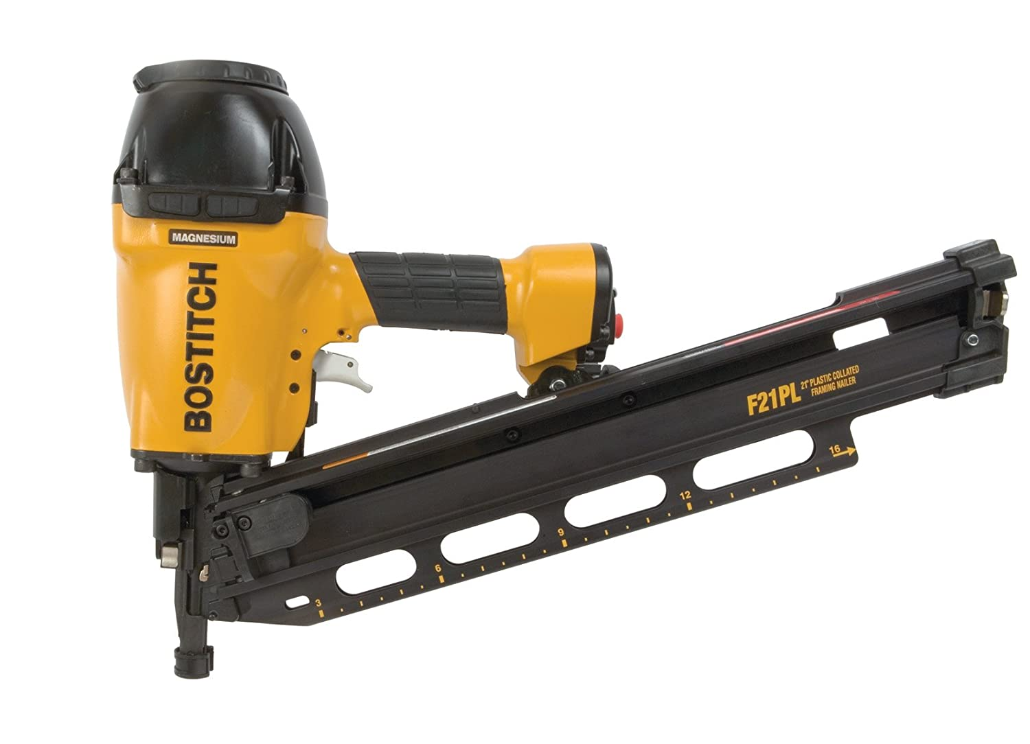 bostitch f21pl round head 1 12 inch to 3 12 inch framing nailer with positive placement tip and magnesium housing power nailers amazoncom