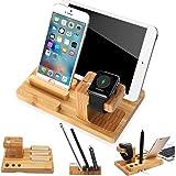segmoi (TM) naturale fatta a mano in legno di bambù USB Charging Dock Station per Apple Watch e staffa da scrivania supporto supporto per iPad iPhone iWatch Smartphone e Tablet