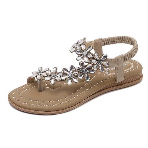 Plates Bohème Pour Femme Zoerea Plage Été Sandales Vacances Peep Toe Chaussures Mode Femmes Pu Tongs Fleurs Confortables Strass Cuir K5TlFJc3u1