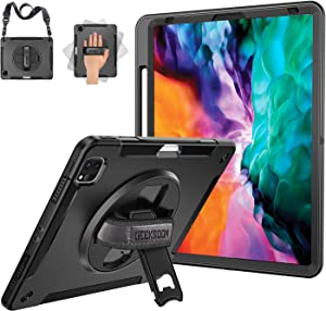 iPad Pro 12.9 Case 2020 4th Generation / 2018 3rd Generation with Pencil Holder, 15ft Drop Tested Shockproof Full Body Protective Case with Kickstand & Adjustable Strap for iPad Pro 12.9 Inch 4th Gen
