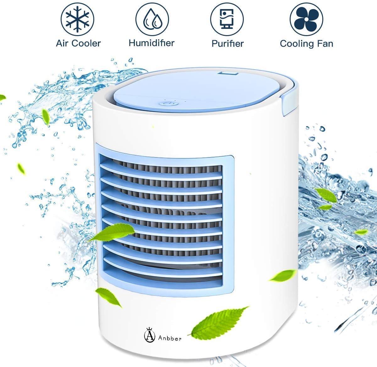 Aire Acondicionado portátil Anbber Air Cooler 4 en 1 Ventilador purificador de Aire para desinfección de luz UV con conexión USB 3 Niveles de Potencia Aire Acondicionado portátil: Amazon.es: Bricolaje y herramientas
