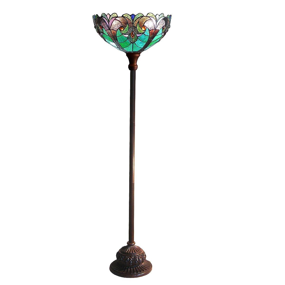 "Chloe Lighting CH18780VG15-TF1 1 Light 15"" Shade Liaison Tiffany-Style Victorian Torchiere Floor Lamp"