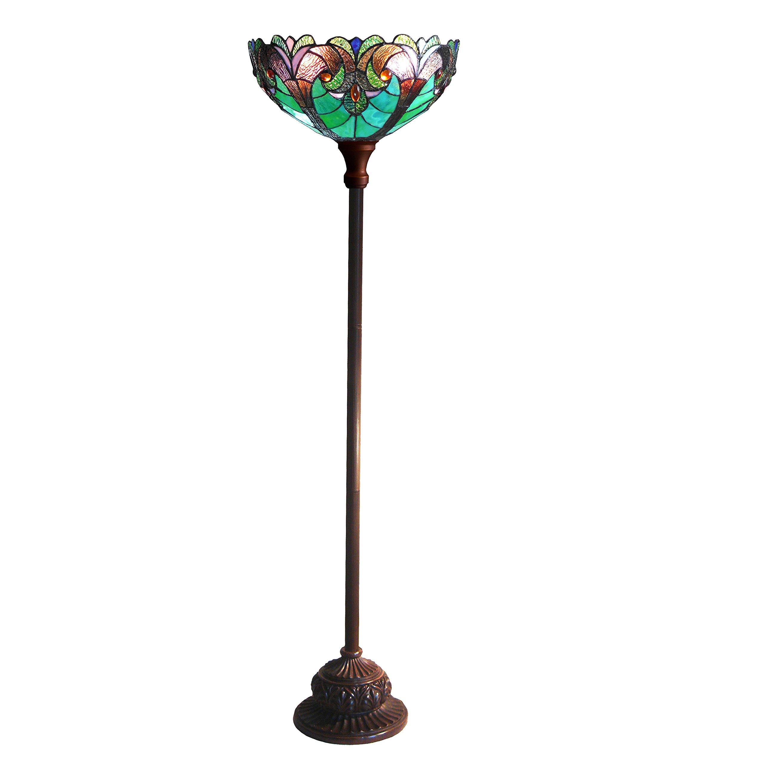 Chloe Lighting CH18780VG15-TF1 1 Light 15'' Shade Liaison Tiffany-Style Victorian Torchiere Floor Lamp