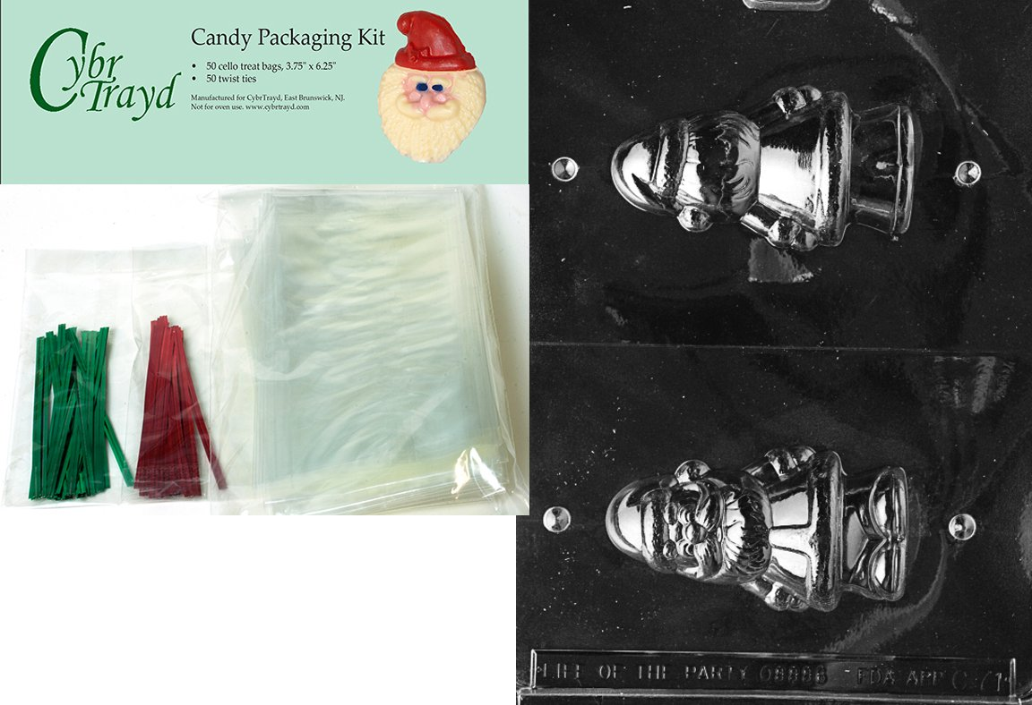 Cybrtrayd MdK50C-C071 Hollow Santa Christmas Chocolate Mold with Chocolate Packaging Kit and Molding Instructions Includes 50 Cello Bags 25 Red and 25 Green Twist Ties Medium