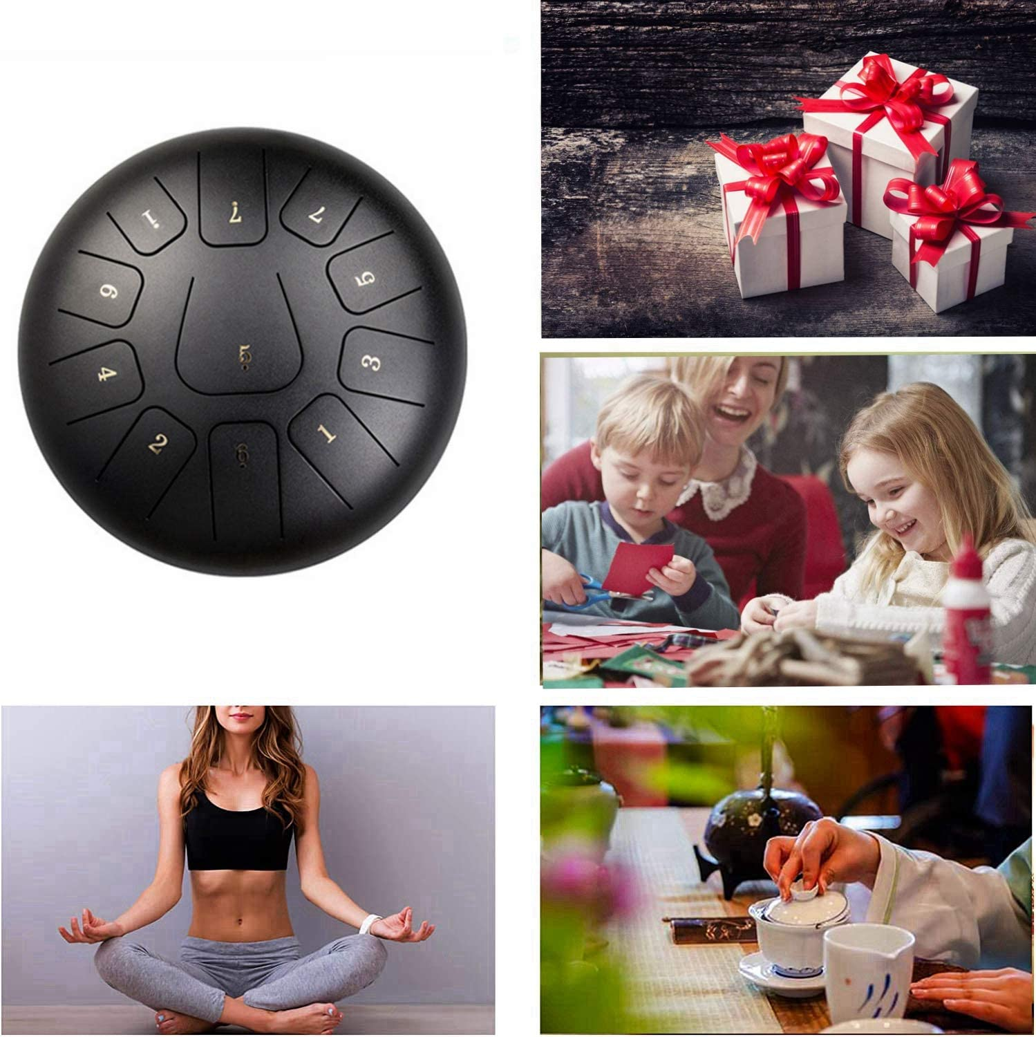 Suitable for Musical Education Concert Mind Healing Yoga 10 inches Steel Tongue Drum 11 tones Fingertips and Padded Travel Bag C Major Chakra Tank Drum with Rubber Mallet