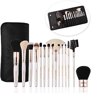 ZOREYA Juego de 15 brochas de maquillaje con estuche, brocha para colorete, base de maquillaje, base sintética, brocha para difuminar, polvos, correctores, cosméticos, brochas de maquillaje: Amazon.es: Belleza
