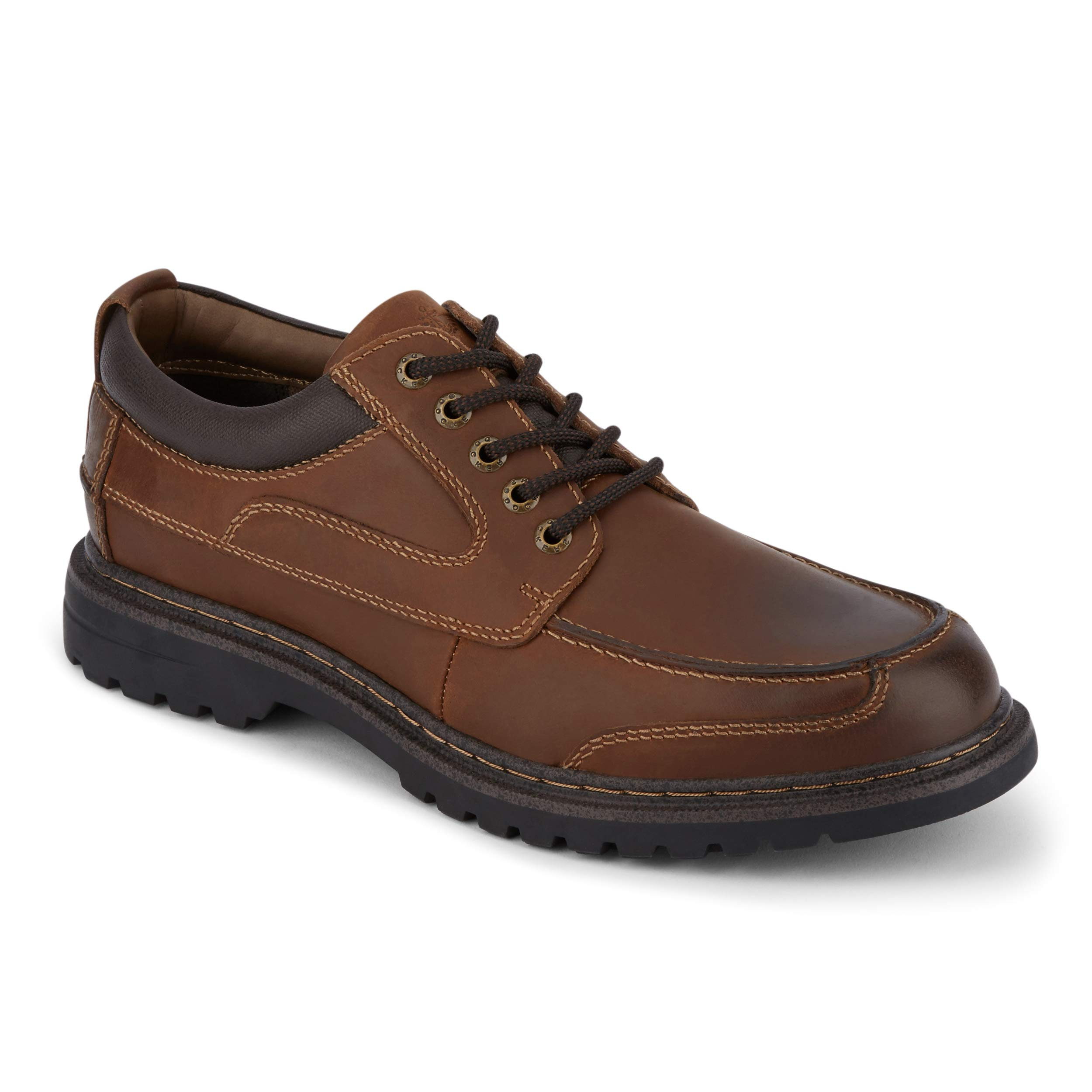 Dockers Mens Overton Leather Rugged Casual Oxford Shoe with NeverWet, Cognac, 9 W by Dockers