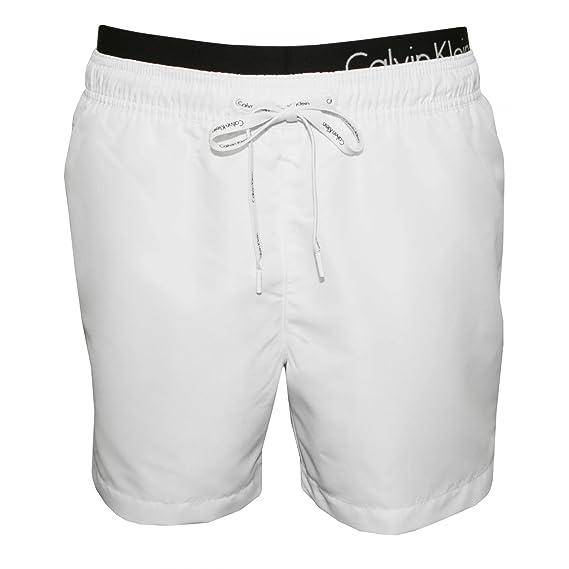 188c51e07a Calvin Klein Double Waistband Men's Swim Shorts, White Large: Amazon ...