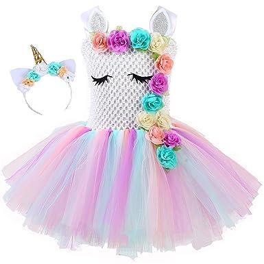 doux et léger dernière sélection coupon de réduction yeesn Filles Princesse Licorne Fleur Arc en Ciel Tutu Robe Enfants Ballet  Tulle Anniversaire Robes de f¨ºte pour Les Enfants ¡