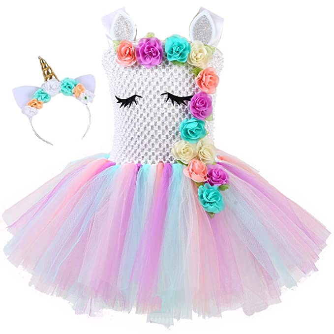 Vestidos de Fiesta de Princesa Unicornio Rainbow Tutu Ballet para niñas Small