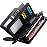 Rfid Women's Wallets Ladies Clutch Leather Wristlet Card Phone Organizer Zipper Purse