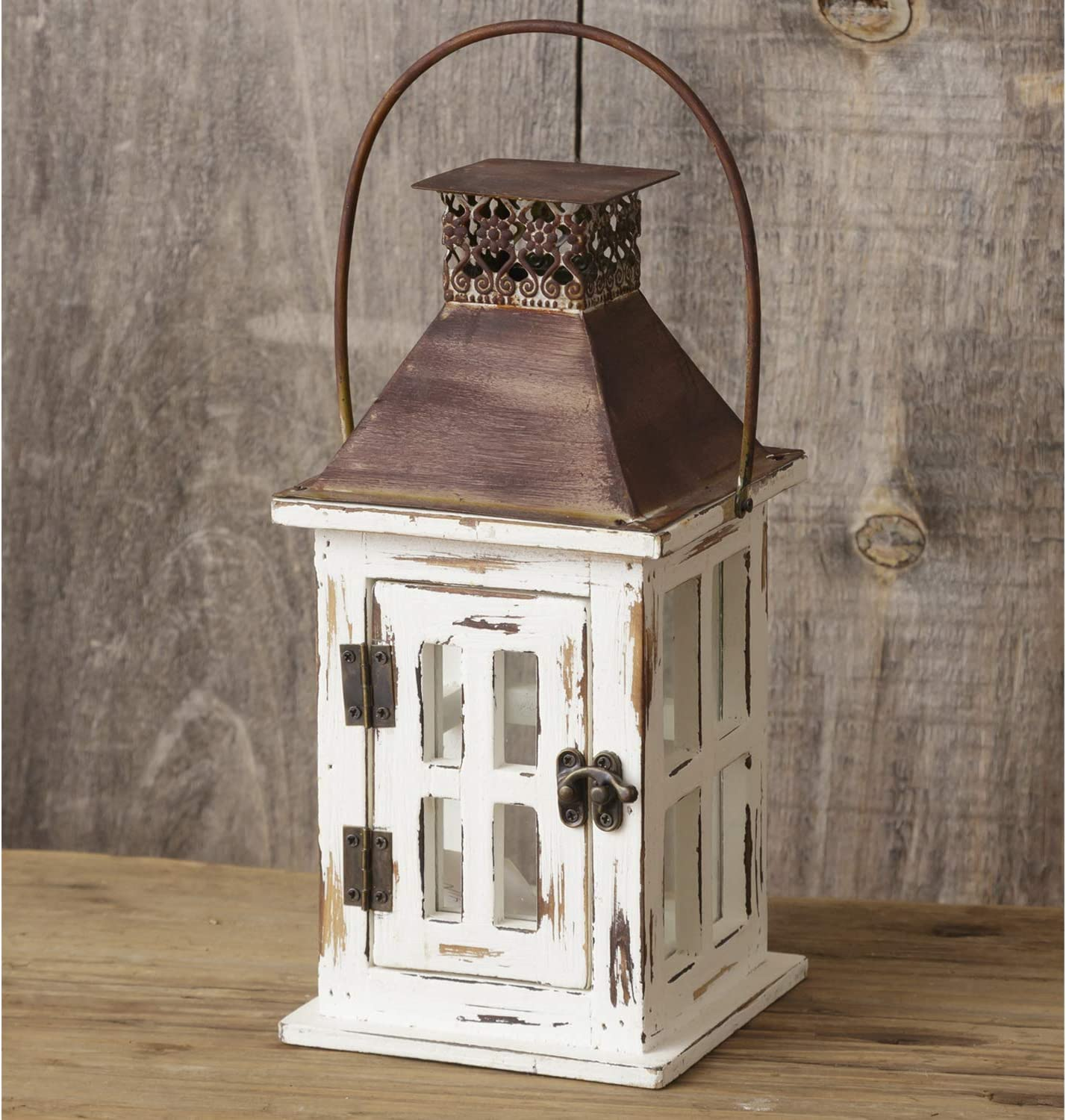 10-Inch Rustic Distressed White Wood Lantern with Metal Rust-Look Top – Hanging or Tabletop LED Candle Holder – Country Farmhouse Home Decor