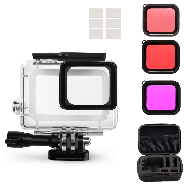 Pacgo Housing Case Filter Kit for GoPro Hero 7 Hero 6 Hero 5 Black/Hero, Waterproof Case Diving Protective Housing Shell + 3 Pack Filter + Anti-Fog Insert + Bracket Accessories