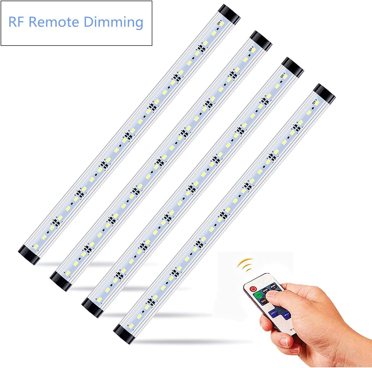 NEWCITY LED Under Cabinet Lighting Kit 4pcs Extendable Under Counter LED Light Bars Pure White 6500K, Dimmable RF Remote Control for,Cupboard, Wardrobe,Locker,ounter,Closet Lighting with.