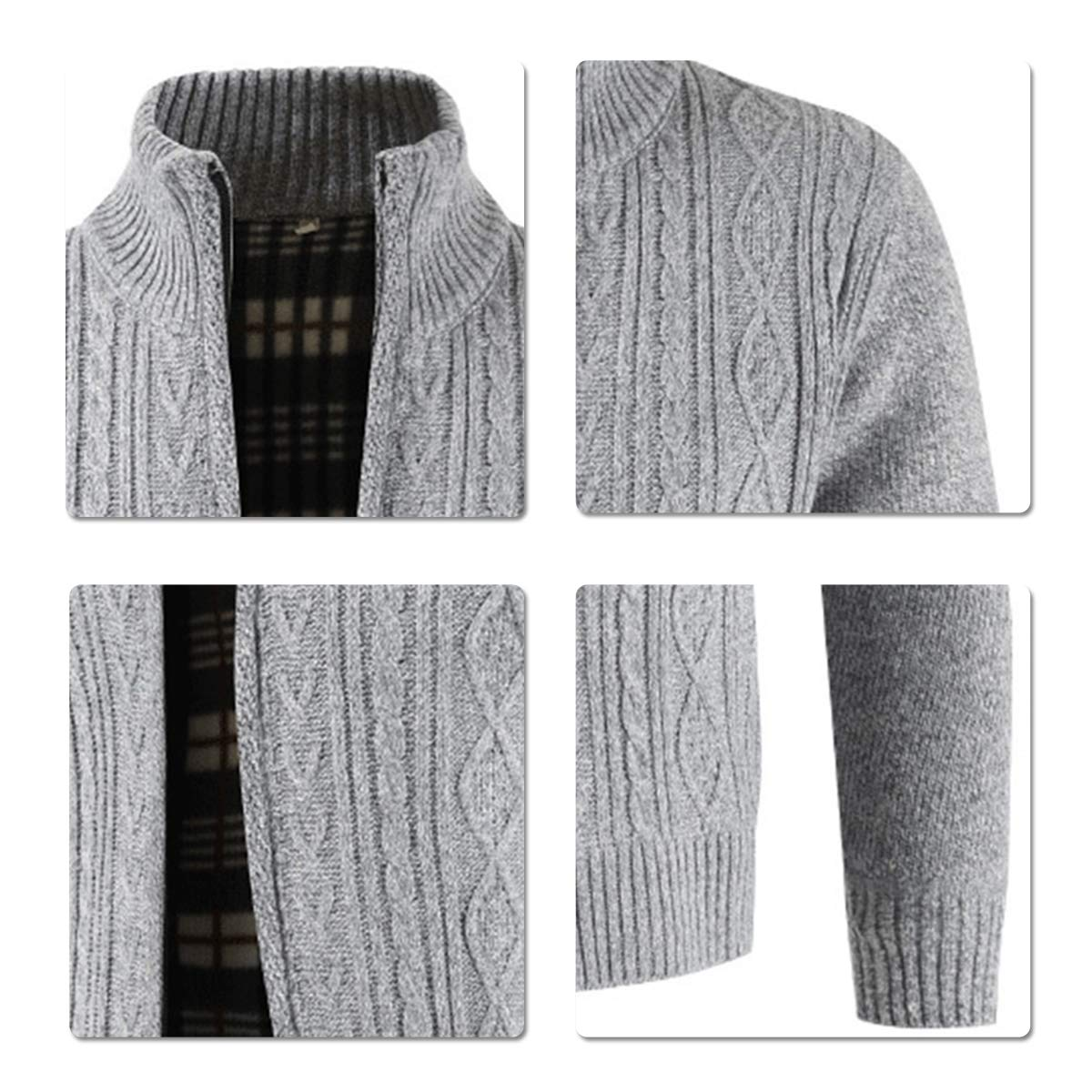 Mens Knitted Cardigan Thick Sweater Full Zip Wool Stand