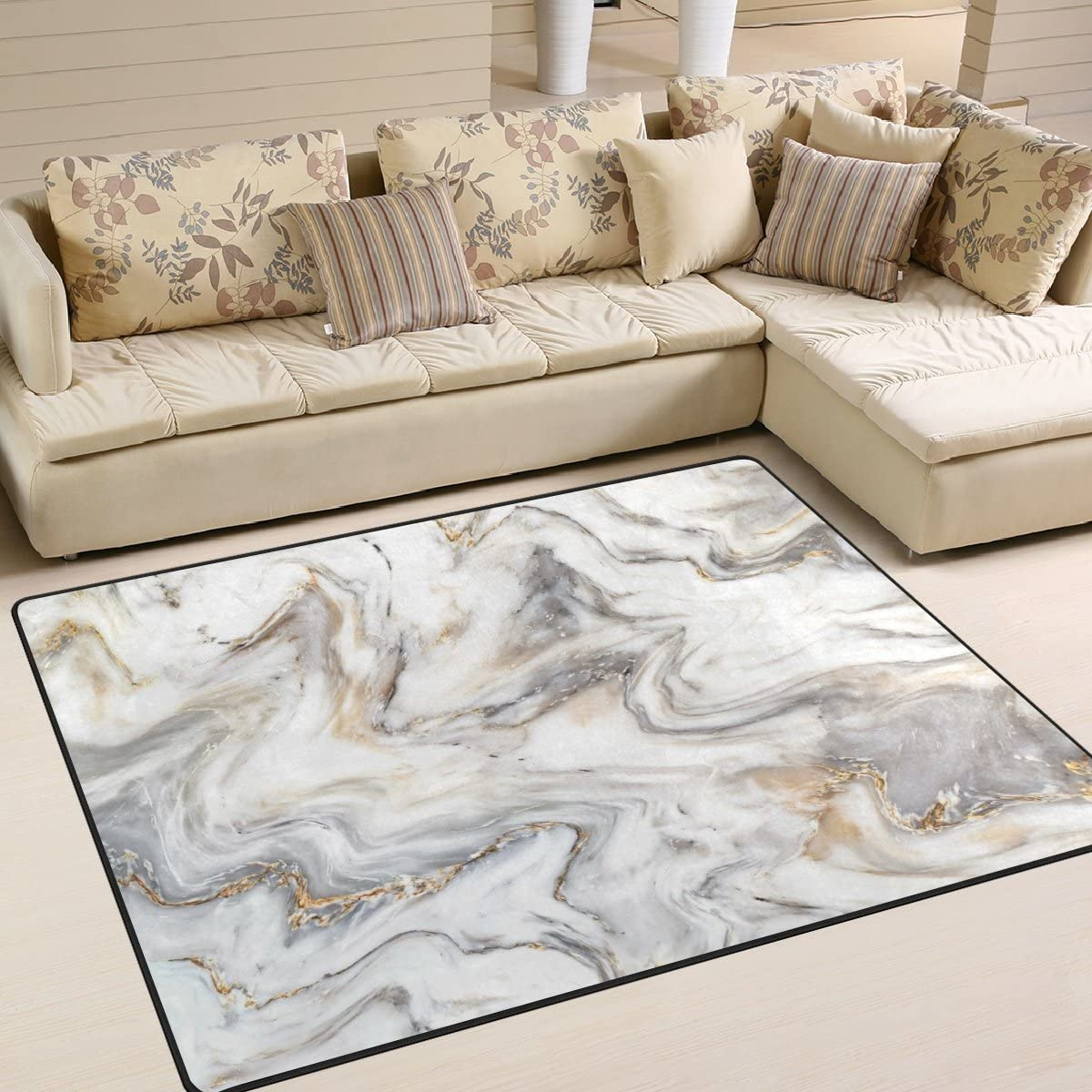Abstract Marble Nursery Rug Floor Carpet Yoga Mat 1.7 x 2.6 ft Naanle Marble Non Slip Area Rug for Living Dinning Room Bedroom Kitchen 50 x 80 cm