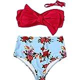 SweatyRocks Traje de baño para mujer con lazo, parte superior de bikini floral, cintura alta