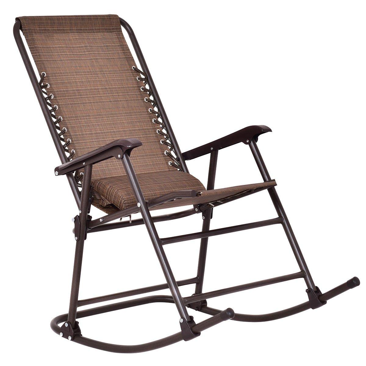 Goplus Folding Rocking Chair Rocker Porch Indoor Outdoor Patio Furniture W/  Headrest
