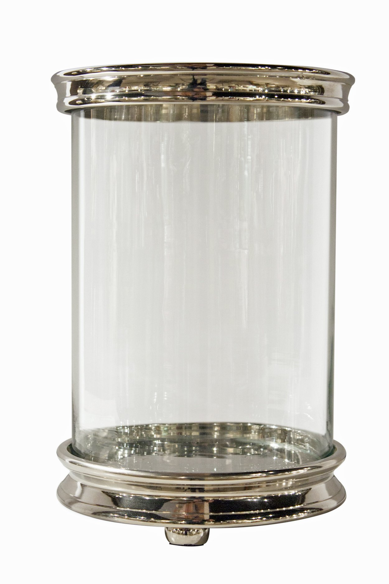 Hurricanes - ''Nob Hill'' Cylinder Hurricane Candle Holder - Nickel Finish Pillar Candle Holder