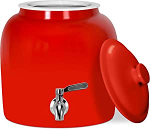 Geo Sports Porcelain Water Dispenser (Solid Color Series); Lid and Valve Included, E-Comm Shipping Ready (Solid Red)