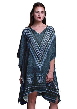 Phagun Azul Tribal Africano Vestido de Playa Midi Corto de Caftan ...