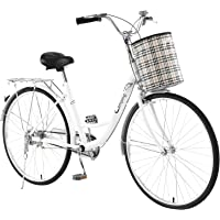 Women's Cruiser Bike, 26 Inch High-Carbon Steel Commuter Bicycle, Retro Bicycle, Road Bike, Beach Cruiser Bicycle with…