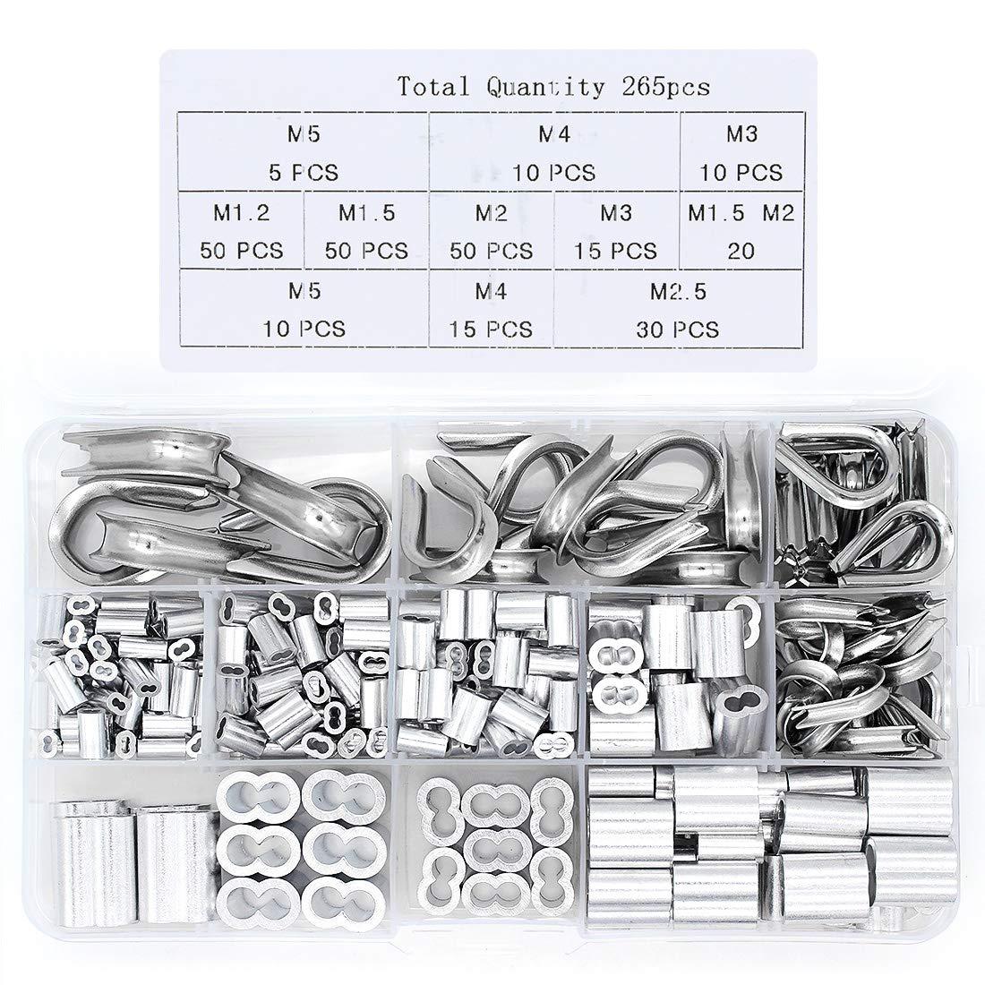 Yuhtech 265Pcs Kit de Cosses et Manchons /à Sertir en Aluminium pour C/âble M/étallique et du C/âble