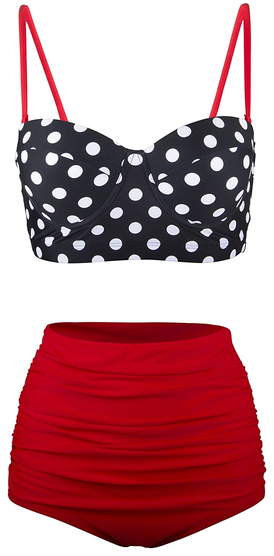 Aixy Mujer Vintage Halter Neck Bikinis Conjuntos Polka Dot Bikini Cintura Alta Trajes de Baño de Dos Piezas
