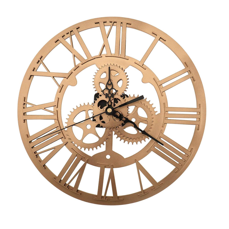 OTOTEC Horloge Murale Classique Ronde en Fer dor/é avec Chiffres Romains Steampunk