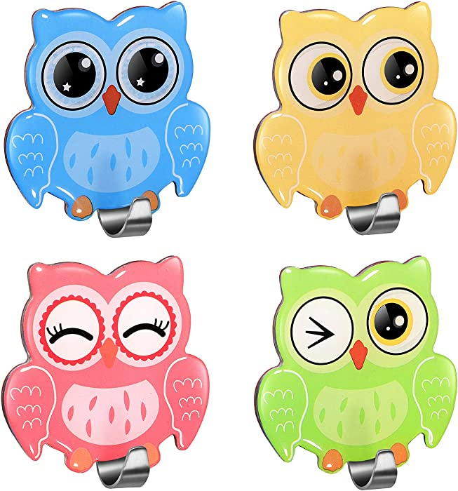 Morcart Cute Hooks Self Adhesive Owl Hook, Colorful Wall Hangers for Kitchen, Kids Bedroom, Bathroom Hanging Robe Towels Keys 4 Pcs
