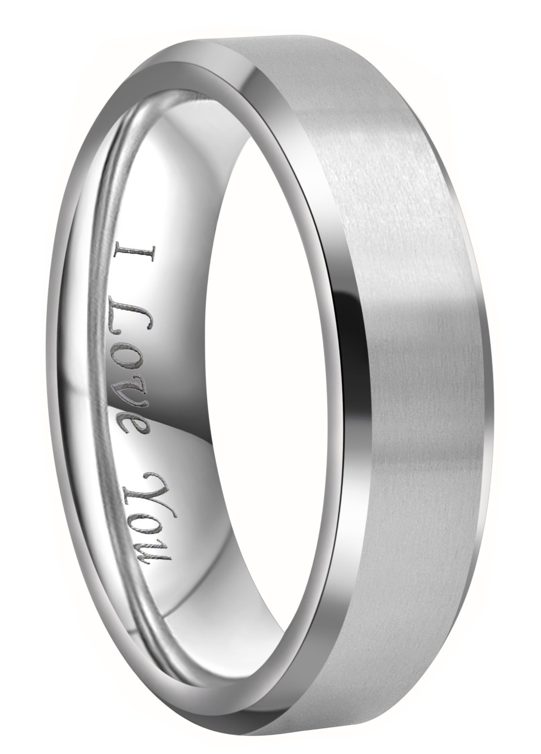 Crownal 4mm 6mm 8mm Titanium Wedding Couple Bands Rings Men Women Matte Brush Center Beveled Edges Engraved ''I Love You'' Comfort Fit Size 4 To 16 (6mm,11.5)