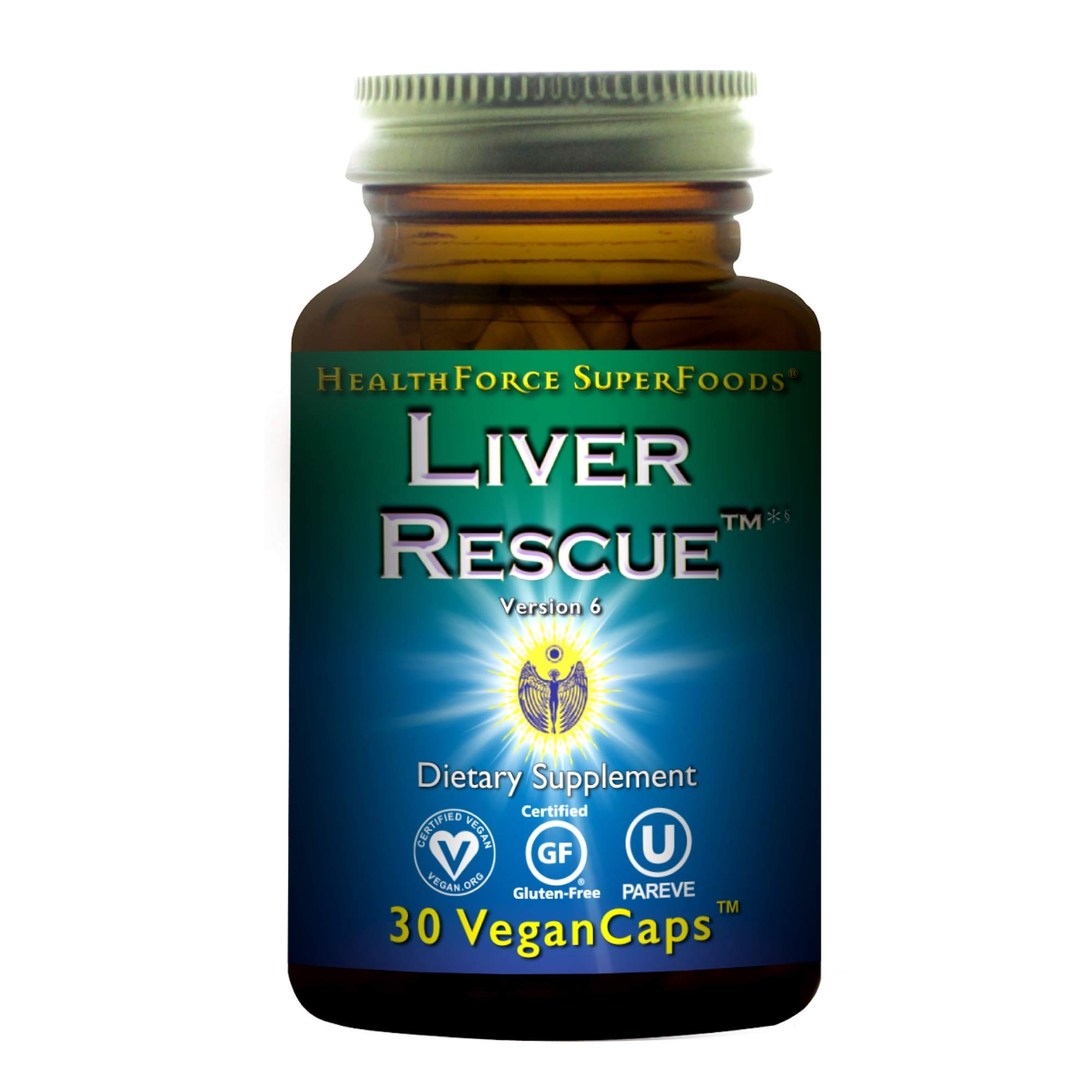 HealthForce SuperFoods Liver Rescue - 30 Count (Pack of 1) Vegan Capsules - All Natural Liver Detoxifier & Regenerator Supplement with Milk Thistle & Dandelion Root - Gluten Free - 15 Servings by Healthforce