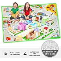 "Kid's Toy Carpet Rug Playmat 36"" x 51"" with Urban Traffic Road Map and Car Track Scene Suitable for Baby Crawling, Full of Fun"