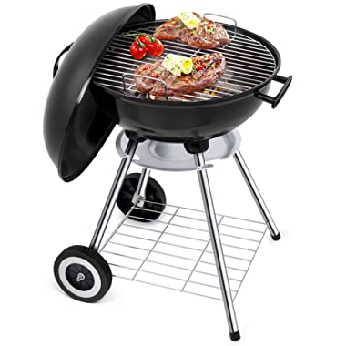Portable Charcoal Grill for Outdoor Grilling 18 inch Barbecue Grill and Smoker Heat Control Round BBQ Kettle Outdoor Picnic Patio Backyard Camping Tailgating Steel Cooking Grate for Steak Chicken