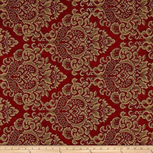 Fabric 0532154 Damask Chenille Jacquard Ruby Yard