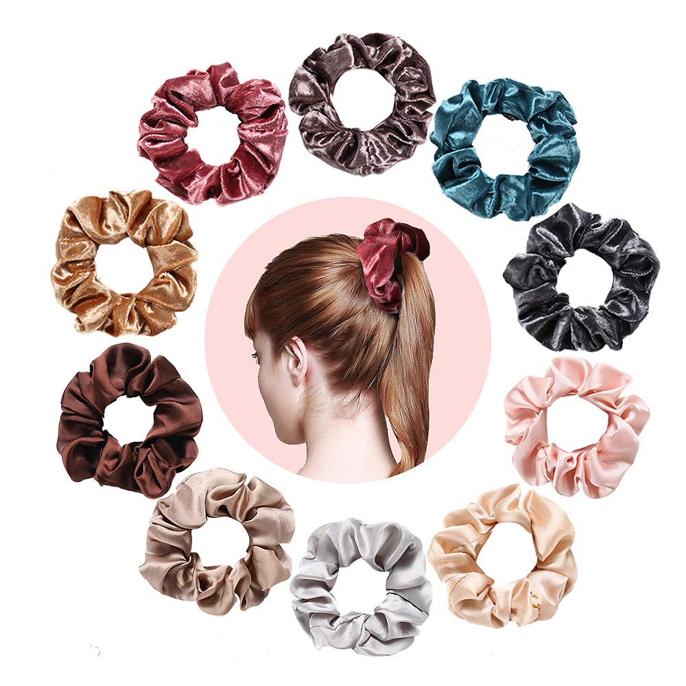 Spiral Hair Coils Hair Ties Rings - Elastic No Crease Ponytail Holders Resilient Painless Phone Cord Hair Rubber Bands Hair Accessories for Girls Women Suitable for All Hair Types 8 Colors (10-Pack) by INCOK